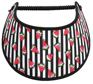 Foam sun visor with watermelon slices on black & white stripe
