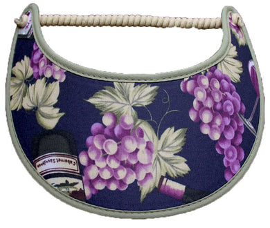 Foam sun visor with clusters of grapes on navy