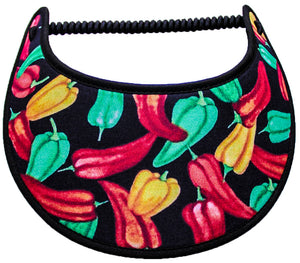 Foam sun visor with red, yellow, green peppers