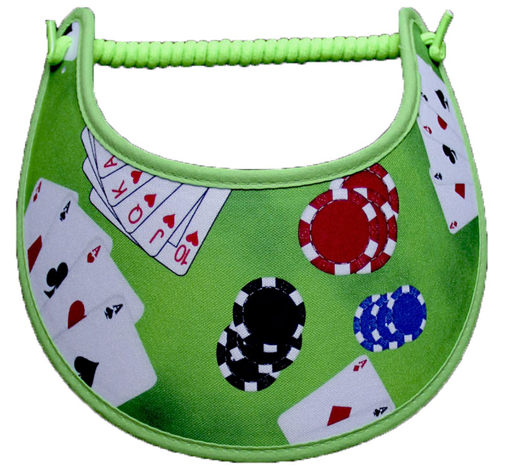 Foam sun visor with cards dice and chips on green