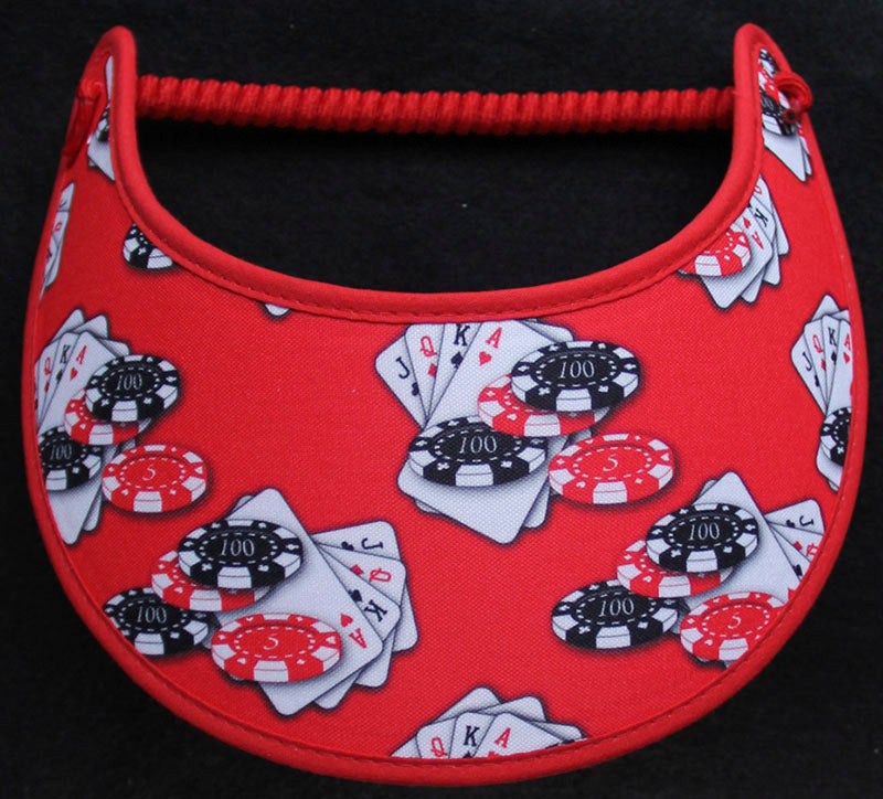 Foam sun visor with chips cards on red