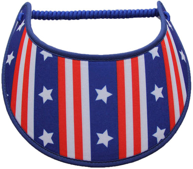 Foam sun visor with red, white & blue stripes and stars