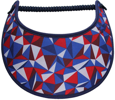 Foam sun visor with abstract shapes in patriotic colors