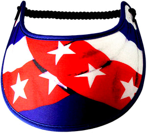 Foam sun visor with draped flag design