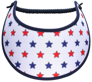 Foam sun visor with red & blue stars on white