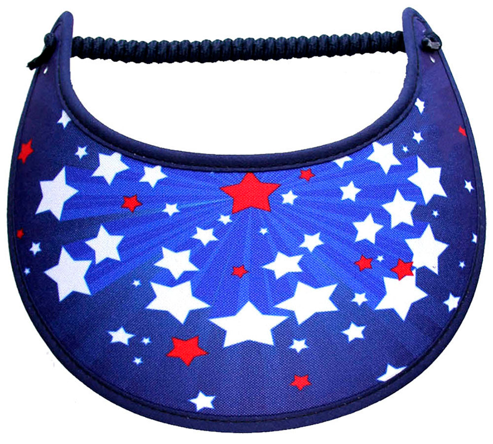 Foam sun visor with white & red stars on blue