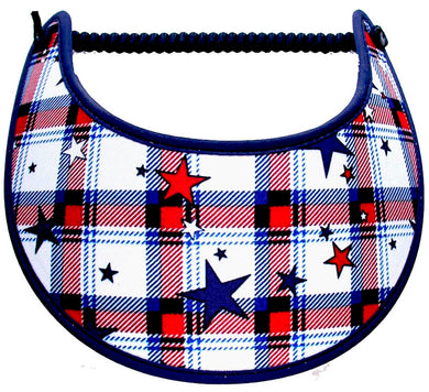 Foam sun visor with stars on red, white & blue plaid