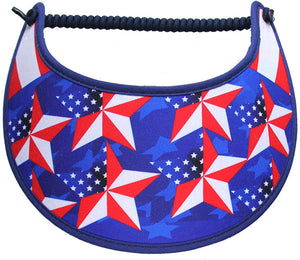 Foam sun visor with flag stars on blue