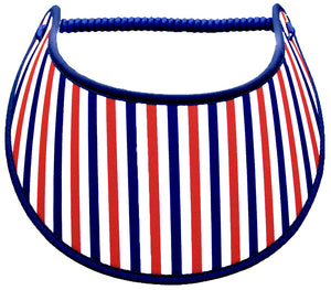 Foam sun visor with red, white & blue stripes