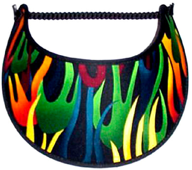 Foam sun visor with multicolored racing flames