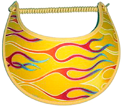 Foam sun visor with red & yellow racing flames on yellow