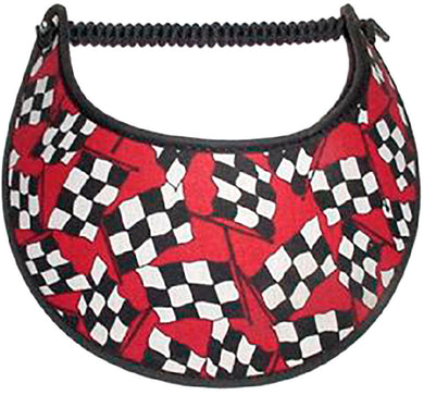 Foam sun visor with red, black & white checked racing flag