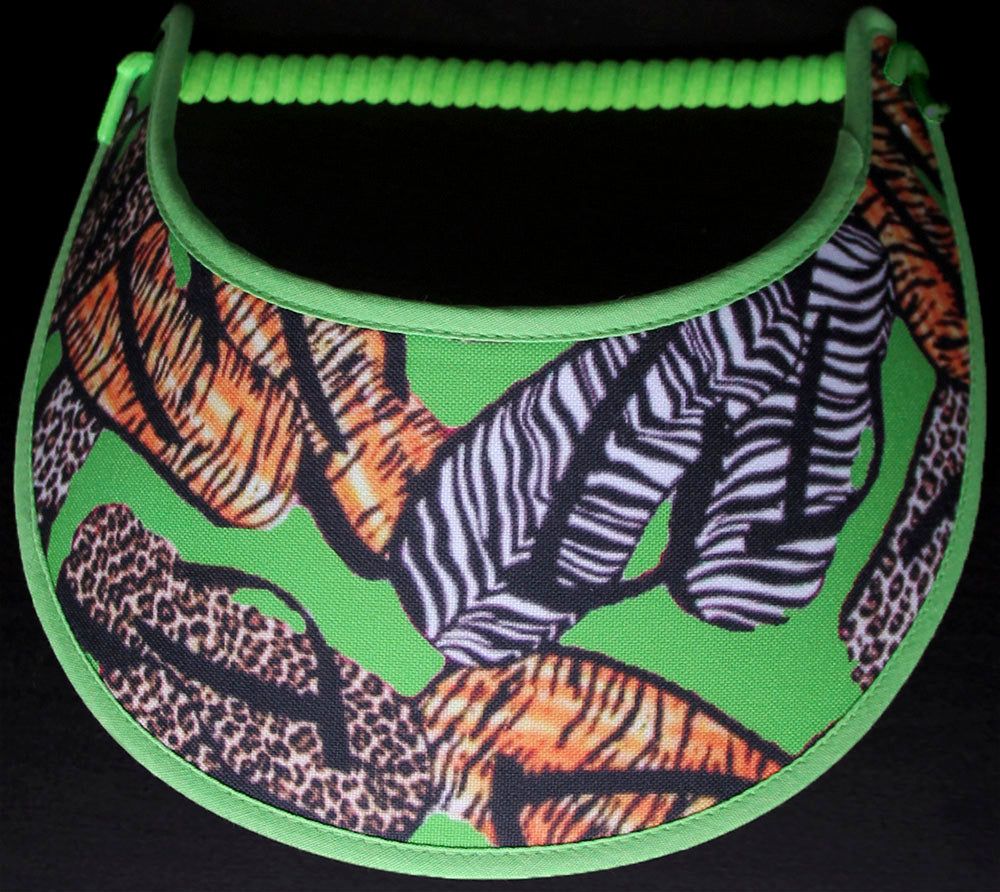Foam sun visor with flip flops in animal designs