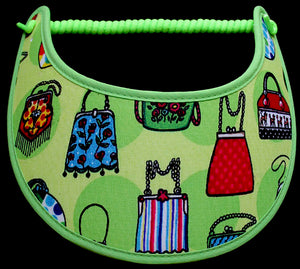 Foam sun visor with vintage handbags