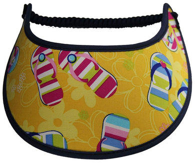 Foam sun visor with flip flops on yellow