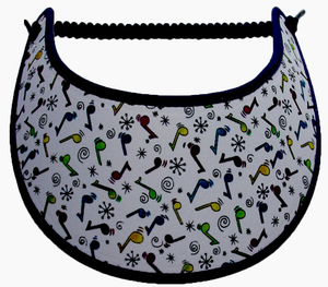 Foam sun visor with multicolored music notes on white