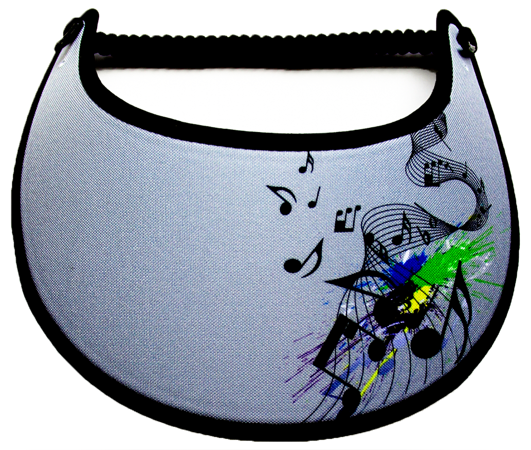 Foam sun visor with music notes on gray