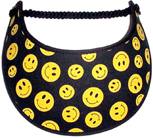 Foam sun visor with yellow smiley faces on black