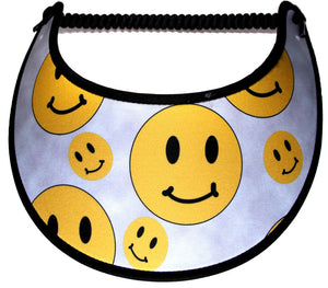 Foam sun visor with yellow happy faces on gray