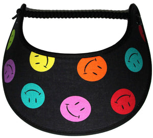 Foam sun visor with multicolored smiley faces on black
