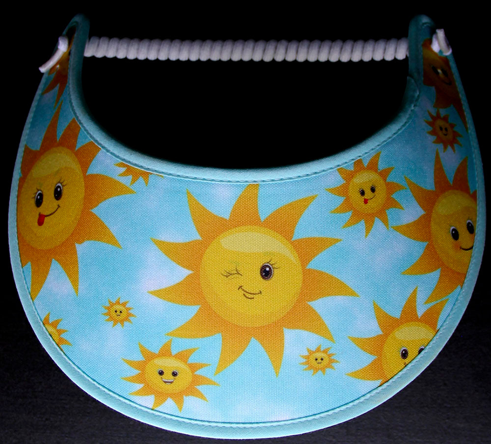 Foam sun visor with smiley faces in the sun
