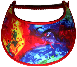 Foam sun visor with design in red, blue & yellow