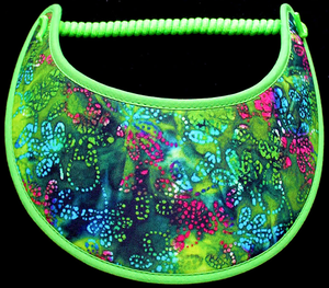 Foam sun visor with design in lime green, blue & bright pink