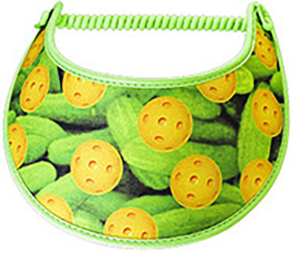 Ladies foam visor with pickleballs on pickle background