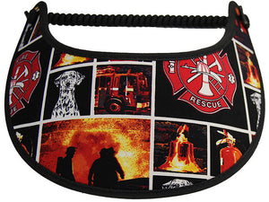 Foam sun visor with a collage of firemen's  emblems