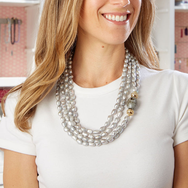 Irregular Gray Pearl Opera Necklace