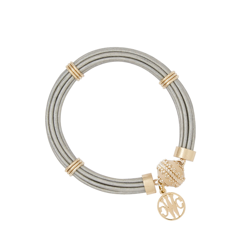 Aspen Leather Platinum Bracelet