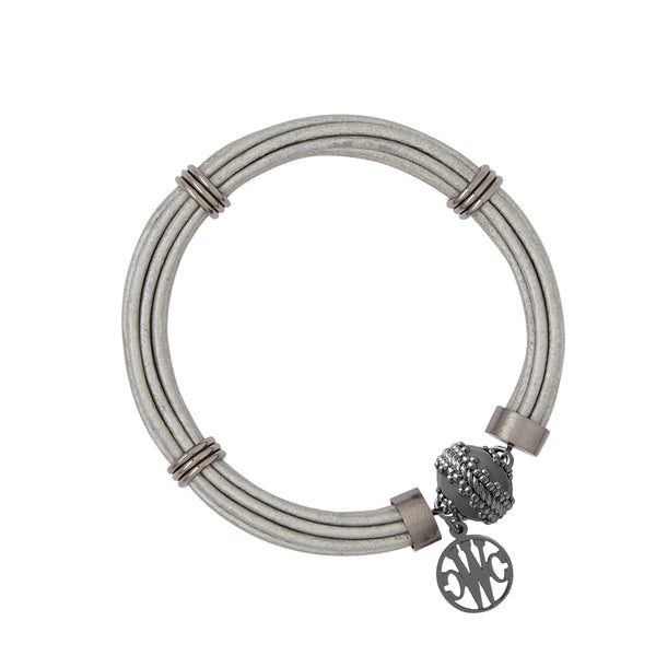Aspen Leather Platinum Gunmetal Bracelet