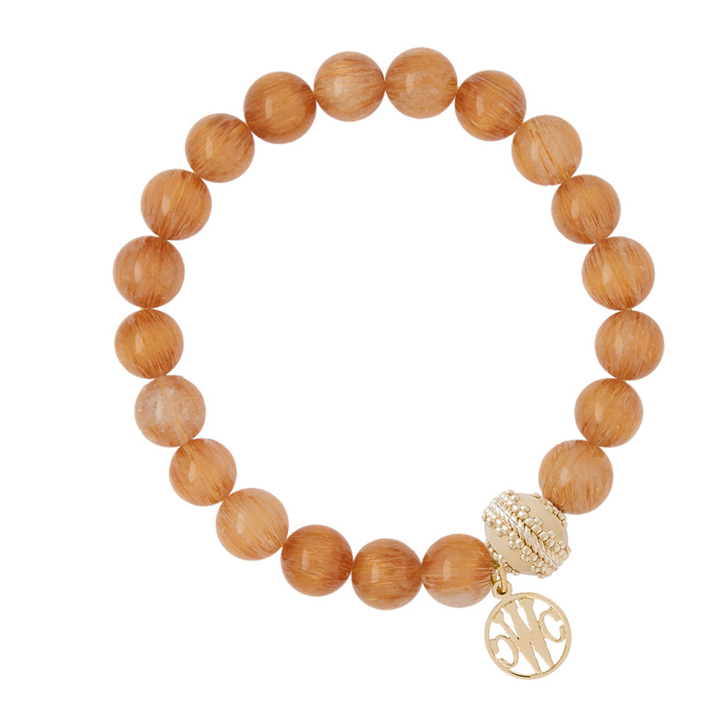 Victoire Brown Rutilated Quartz Stretch Bracelet