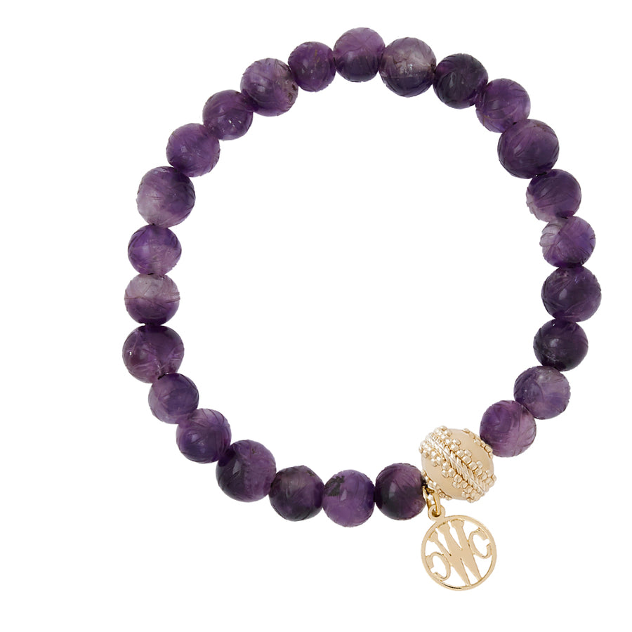 Victoire Carved Amethyst Stretch Bracelet