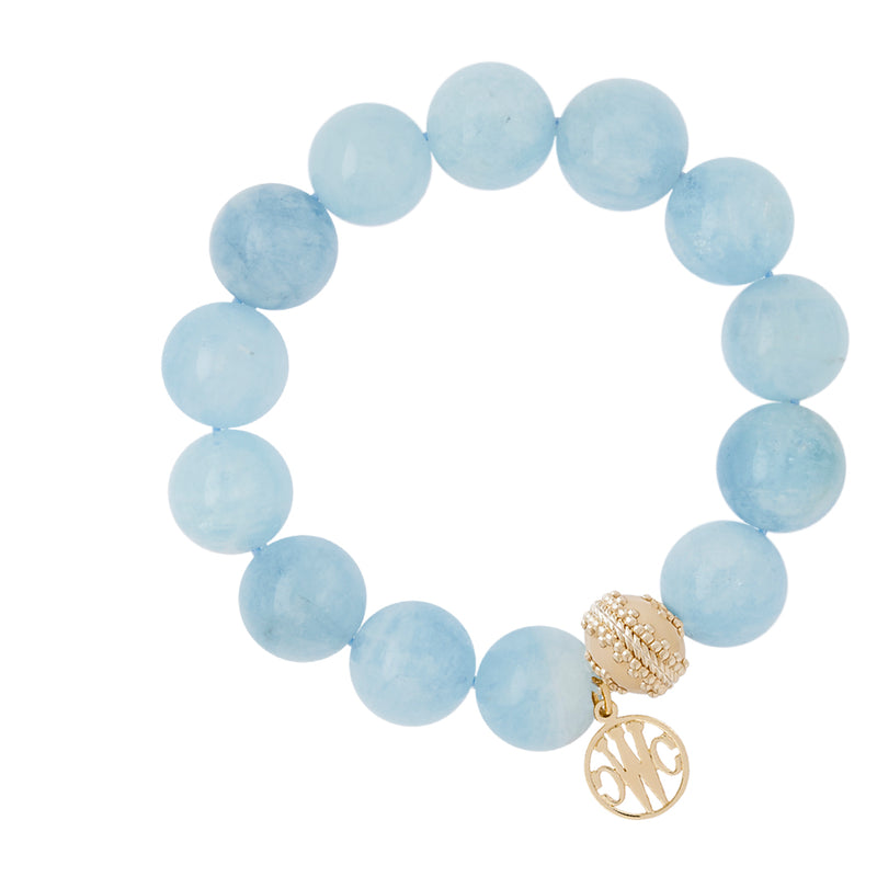 Victoire Aquamarine Stretch Bracelet 14-15mm