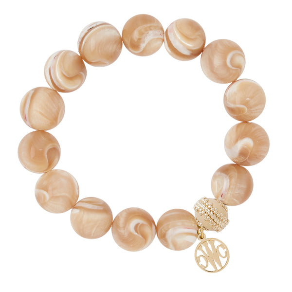 Victoire Tan Mother of Pearl Stretch Bracelet 14mm