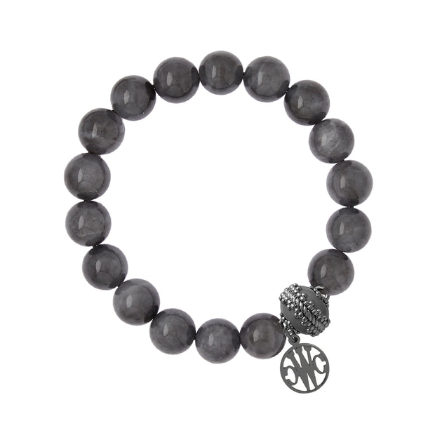 Victoire Gunmetal Stretch Bracelet 10mm