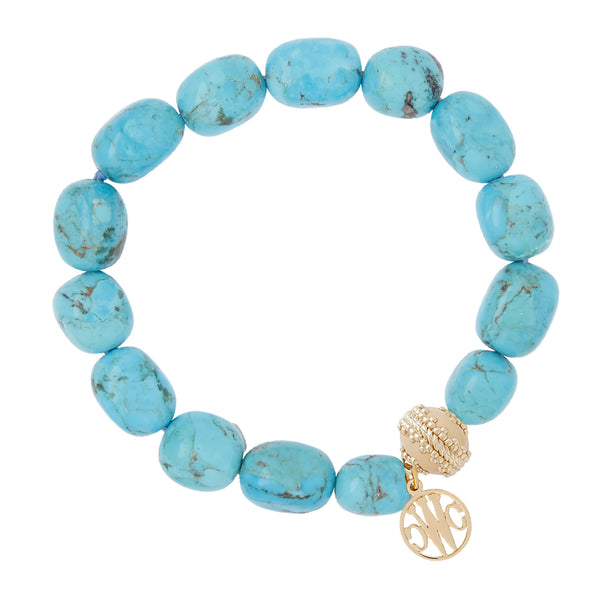 Turquoise Tumbled Nugget Stretch Bracelet