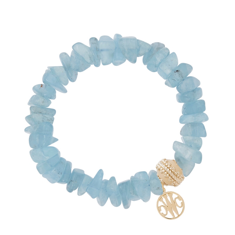 Aquamarine Chip Stretch Bracelet