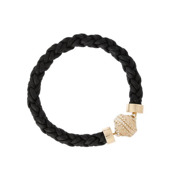 Bolo Black Leather Bracelet
