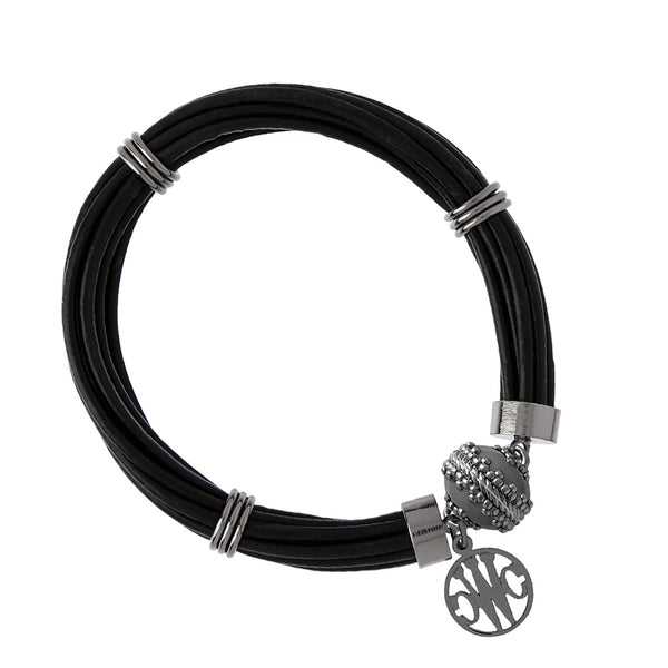 Aspen Leather Black Gunmetal Bracelet