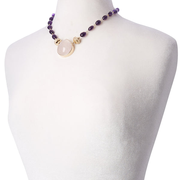 Caspian Faceted Amethyst Graduated Necklace