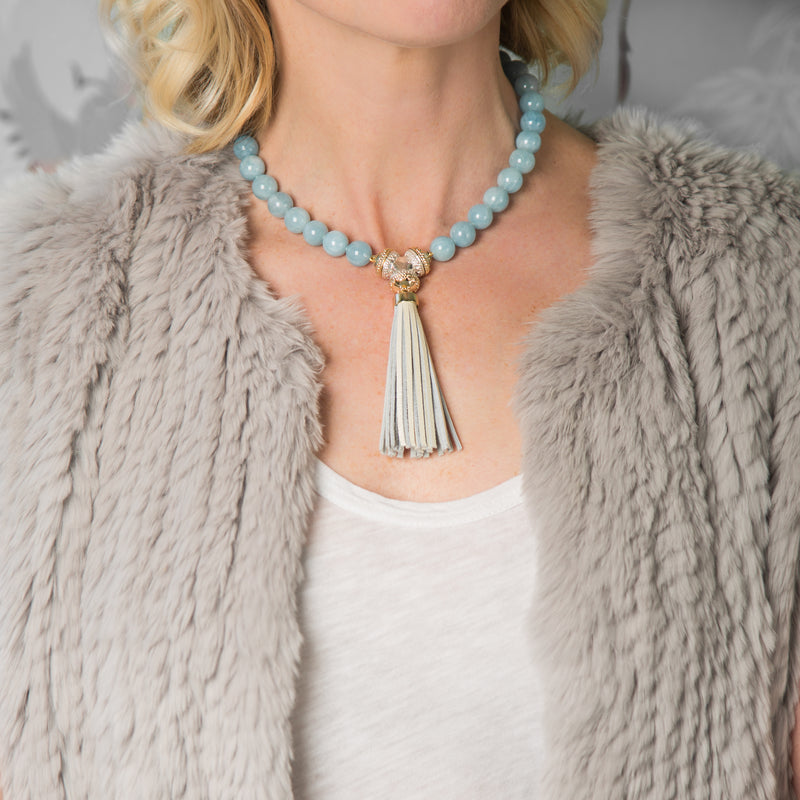 Victoire Blue Lace Agate 12mm Necklace