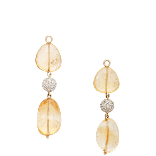 Citrine & Diamond Earring Drops