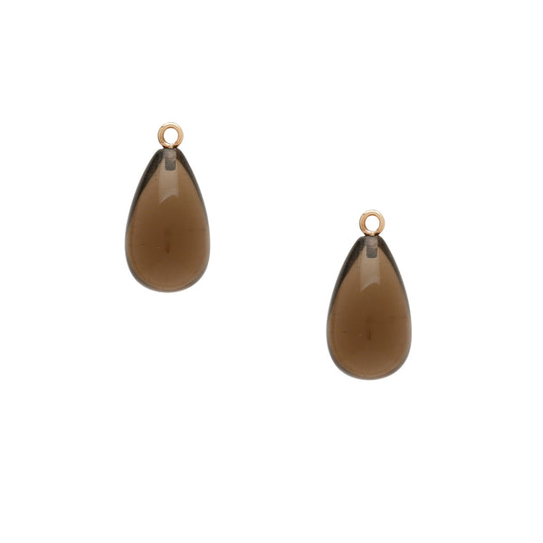 Tumbled Smokey Quartz Teardrop Earring Drops