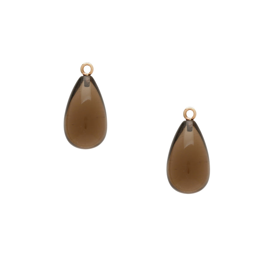 Tumbled Smokey Quartz Teardrop Drops