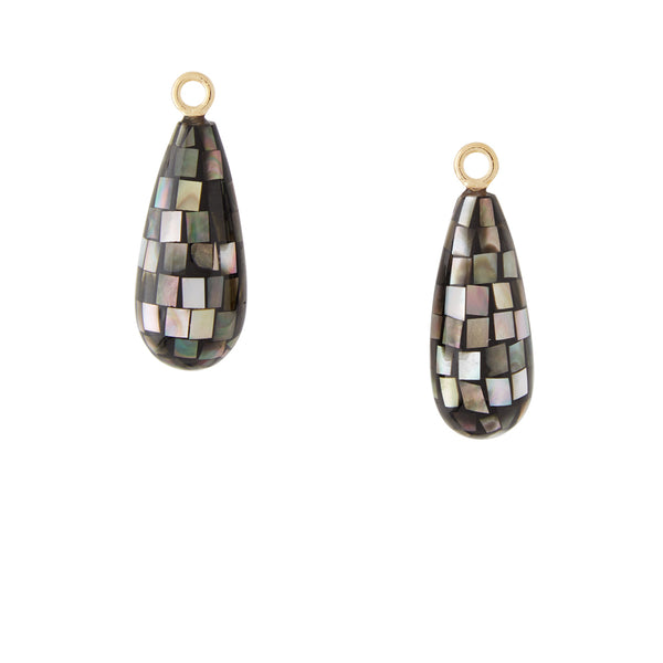 Mother of Pearl Dark Gray Mosaic Earring Drops