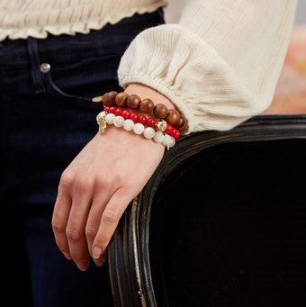 Victoire Reconstituted Red Coral Stretch Bracelet,