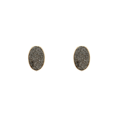 18K Vaporized Druzy Oval Earrings