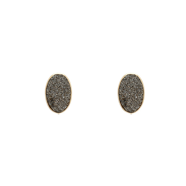 18k Vaporized Druzy Oval Stud Earrings